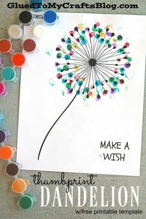 30 Fun Spring Break Crafts you can Make with Children featured by top US craft blog, The Crafty Blog Stalker: Thumbprint Dandelion