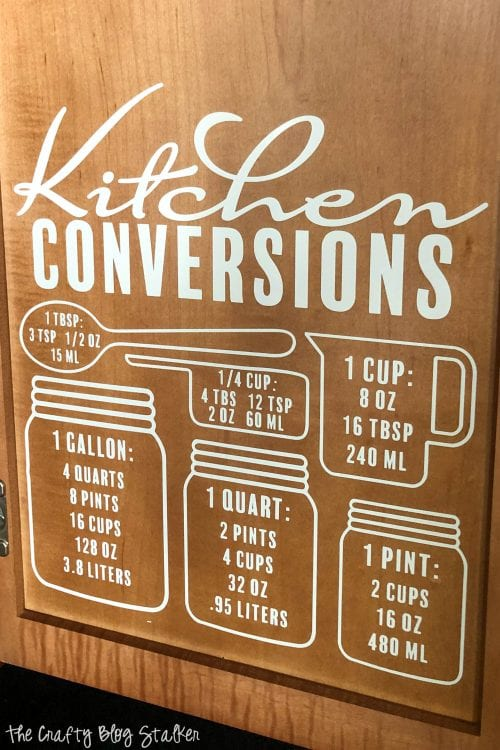 How to Use the Kitchen Conversion Chart SVG, a tutorial featured by top US craft blog, The Crafty Blog Stalker.