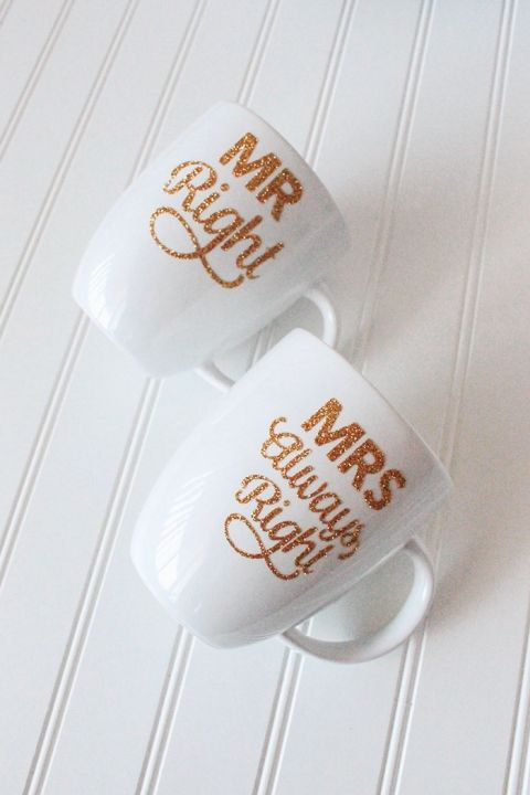 20 Personalized DIY Wedding Gifts for Newlyweds you Can Make with a Cricut, featured by top US craft blog, The Crafty Blog Stalker: DIY Gold and Glitter Mug for Mr. Right and Mrs. Always Right