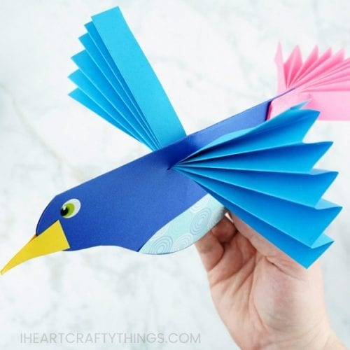 30 Fun Spring Break Crafts you can Make with Children featured by top US craft blog, The Crafty Blog Stalker: Colorful Paper Bird Craft