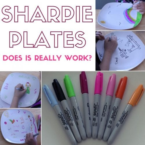 25 Easy Dollar Store Craft Ideas for Adults featured by top US craft blog, The Crafty Blog Stalker: marker plates with sharpies