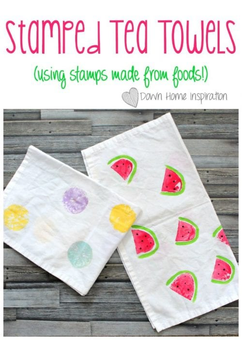 30 Fun Spring Break Crafts you can Make with Children featured by top US craft blog, The Crafty Blog Stalker: Stamped Tea Towels