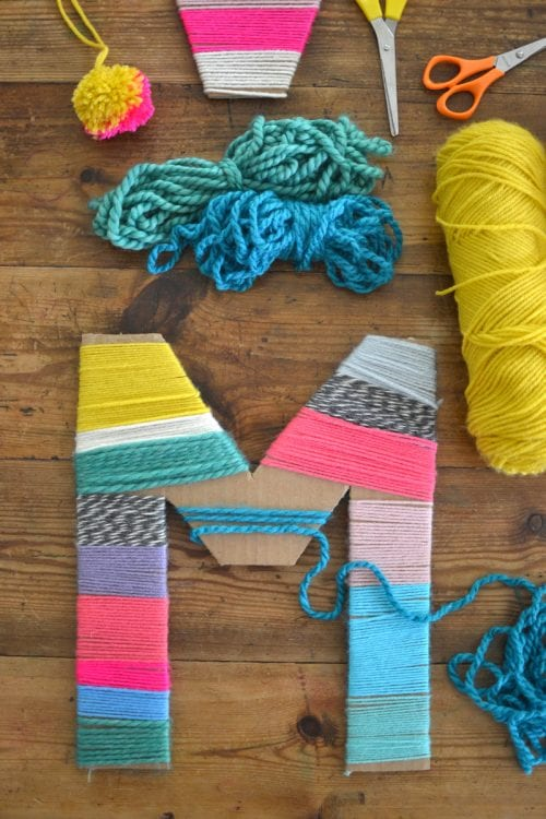 30 Fun Spring Break Crafts you can Make with Children featured by top US craft blog, The Crafty Blog Stalker: Yarn Wrapped Cardboard Letters