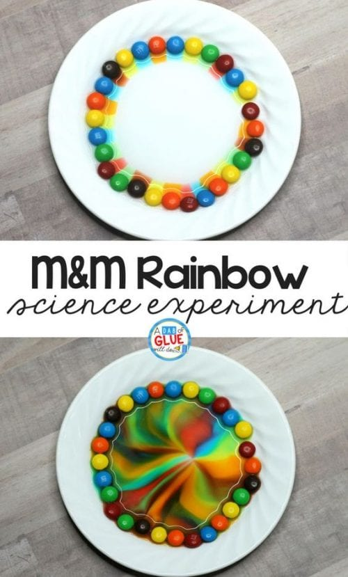 20 Fun Science Crafts for Kids you can Make at Home, featured by top US craft blog, The Crafty Blog Stalker: M&M Rainbow Science Experiment