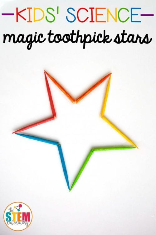 20 Fun Science Crafts for Kids you can Make at Home, featured by top US craft blog, The Crafty Blog Stalker: Magic Toothpick Stars