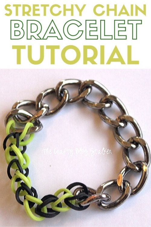 How to Make a Bracelet with Rainbow Loom Bands and Metal Chain, a tutorial featured by top US craft blog, The Crafty Blog Stalker.