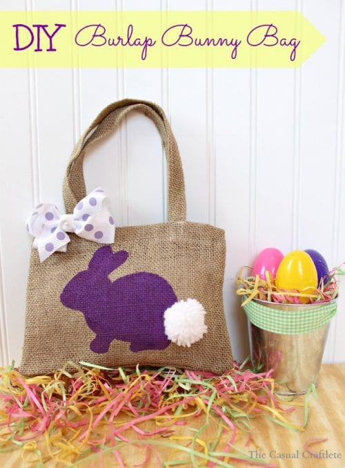 Twelve Fun Easter Crafts featured by top US craft blog, The Crafty Blog Stalker: Burlap Bunny Bag