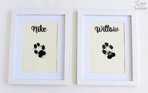 20 DIY Crafts for Dogs featured by top US craft blog, The Crafty Blog Stalker:  paw print wall art