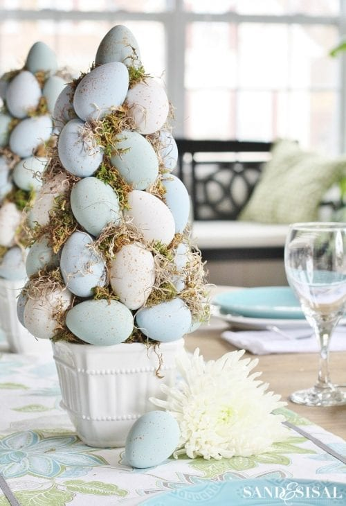 20 Fun DIY Easter Decor Ideas featured by top US craft blog, The Crafty Blog Stalker: Easter Egg Topiary Tree