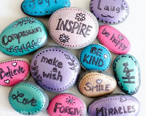 20 of the Best Painted Rock Art Ideas, You Can Do! featured by top US craft blog, The Crafty Blog Stalker: Word Rocks