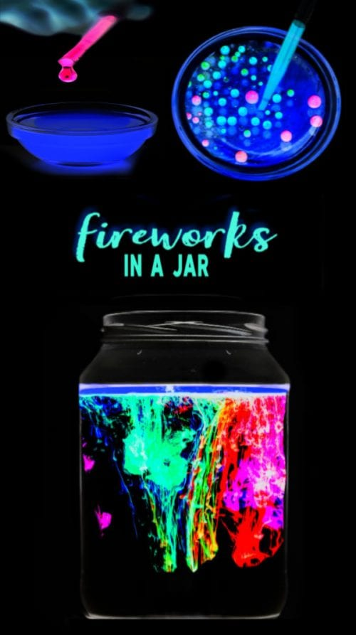 20 Fun Science Crafts for Kids you can Make at Home, featured by top US craft blog, The Crafty Blog Stalker: Glowing Fireworks Experiment