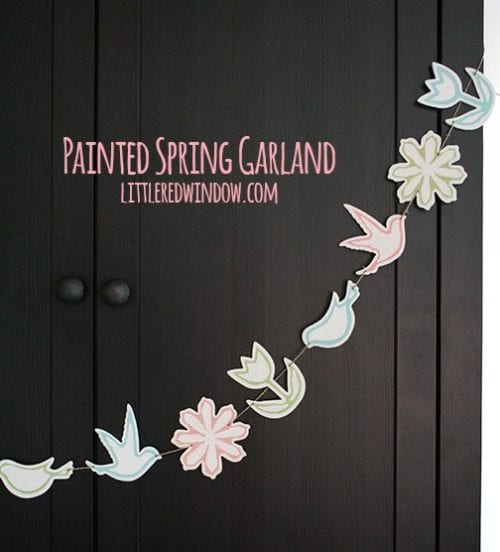 Twelve Fun Easter Crafts featured by top US craft blog, The Crafty Blog Stalker: Painted Spring Garland