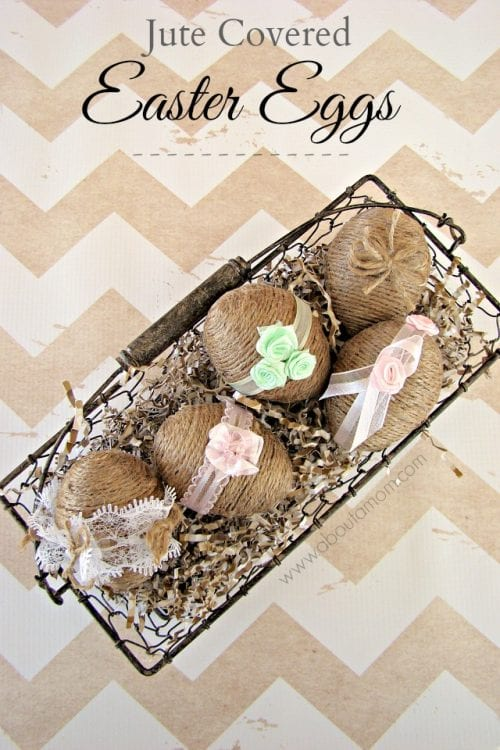 Twelve Fun Easter Crafts featured by top US craft blog, The Crafty Blog Stalker: Jute Covered Easter Eggs