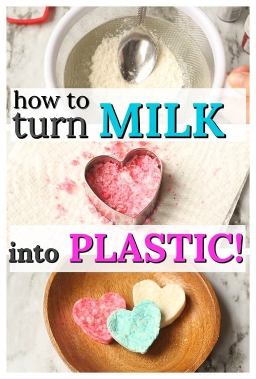 20 Fun Science Crafts for Kids you can Make at Home, featured by top US craft blog, The Crafty Blog Stalker: Turn Milk into Plastic