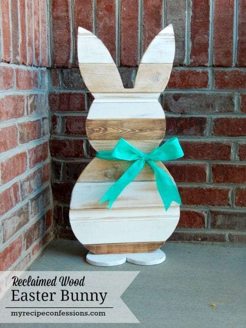20 Fun DIY Easter Decor Ideas featured by top US craft blog, The Crafty Blog Stalker: Reclaimed Wood Easter Bunny