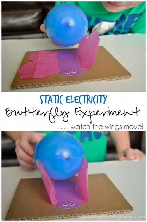 20 Fun Science Crafts for Kids you can Make at Home, featured by top US craft blog, The Crafty Blog Stalker: Static Electricity  Butterfly Experiment
