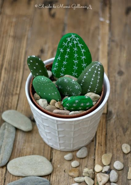 20 of the Best Painted Rock Art Ideas, You Can Do! featured by top US craft blog, The Crafty Blog Stalker: Stone Cactus