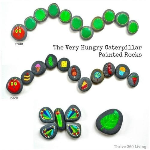 20 of the Best Painted Rock Art Ideas, You Can Do! featured by top US craft blog, The Crafty Blog Stalker: The Very Hungry Caterpillar Painted Rocks
