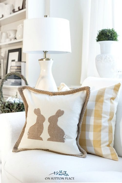 20 Fun DIY Easter Decor Ideas featured by top US craft blog, The Crafty Blog Stalker: Burlap Easter Bunny Pillow