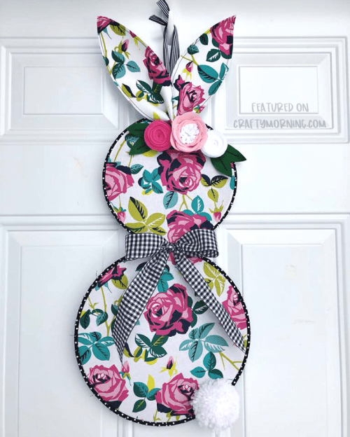 20 Fun DIY Easter Decor Ideas featured by top US craft blog, The Crafty Blog Stalker: Embroidery Hoop Bunny Door Hanger