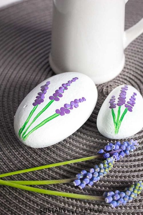 20 of the Best Painted Rock Art Ideas, You Can Do! featured by top US craft blog, The Crafty Blog Stalker: Grape Hyacinth Painted Rocks