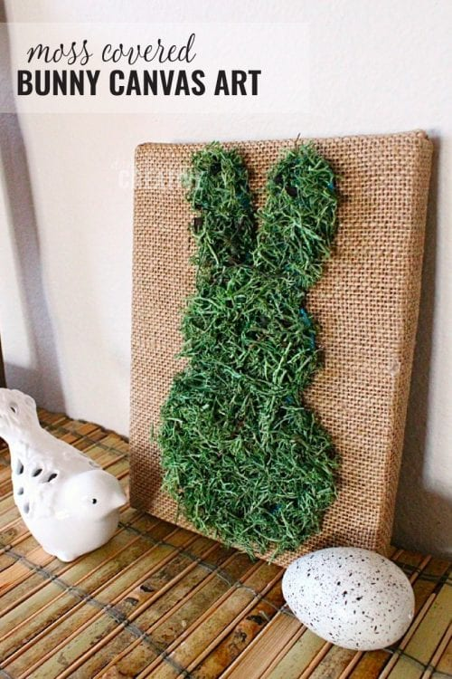 20 Fun DIY Easter Decor Ideas featured by top US craft blog, The Crafty Blog Stalker: Moss Covered Bunny Canvas Art