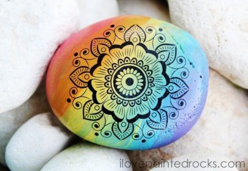 Rainbow Mandala Rocks