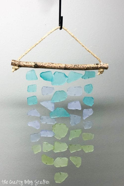finished sea glass wind chime