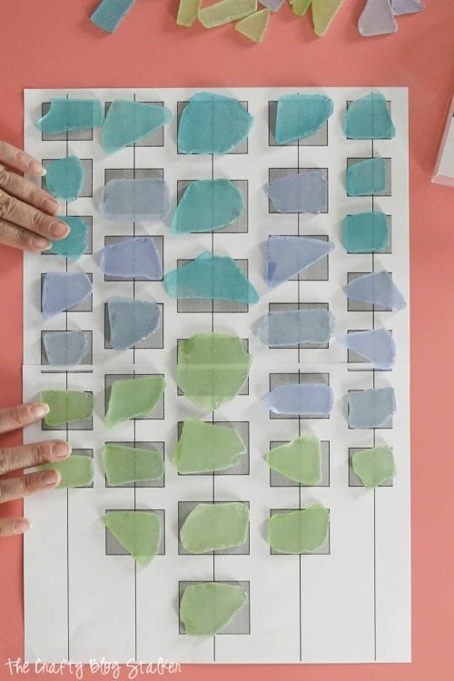 ombre pattern for sea glass placement