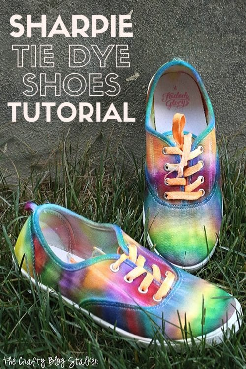 How to DIY Sharpie Tie Dye Shoes: a Step by Step Tutorial, a tutorial featured by top US craft blog, The Crafty Blog Stalker.