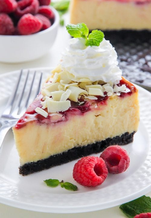 20 White Chocolate Recipes You Need To Try featured by top US craft blog, The Crafty Blog Stalker: White Chocolate Raspberry Cheescake