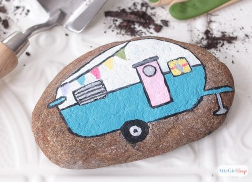 20 of the Best Painted Rock Art Ideas, You Can Do! featured by top US craft blog, The Crafty Blog Stalker: Vintage Camper Painted Rock
