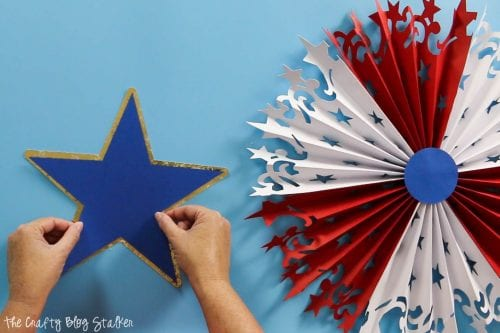 layering the star for the Large DIY Patriotic Paper Rosette