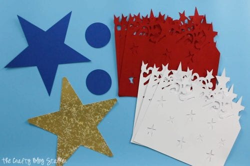 Pieces cut with the Cricut Maker for the Large DIY Patriotic Paper Rosette
