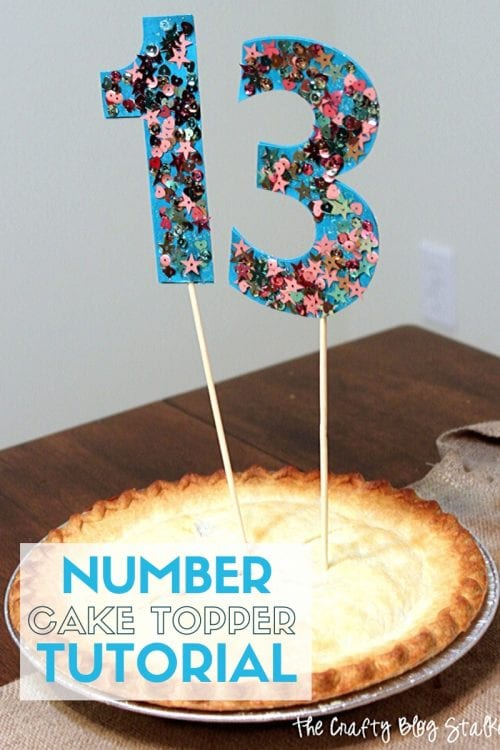 How to Make Glitter Cake Topper Numbers, a tutorial featured by top US craft blog, The Crafty Blog Stalker.
