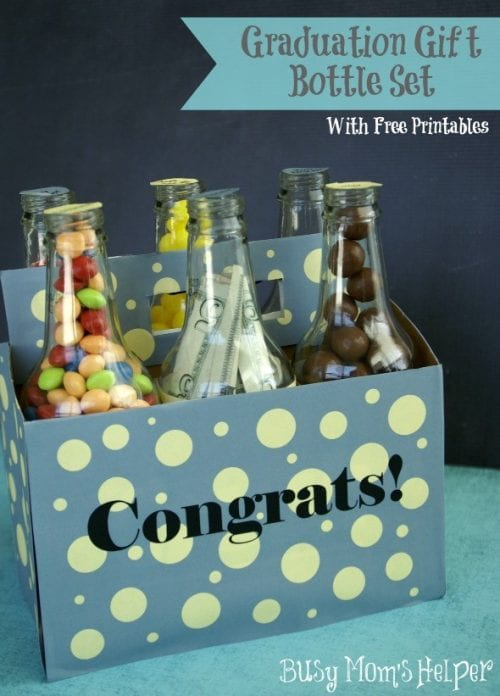 20 Handmade DIY Graduation Gifts, featured by top US craft blog, The Crafty Blog Stalker: Graduation Gift Bottle Set