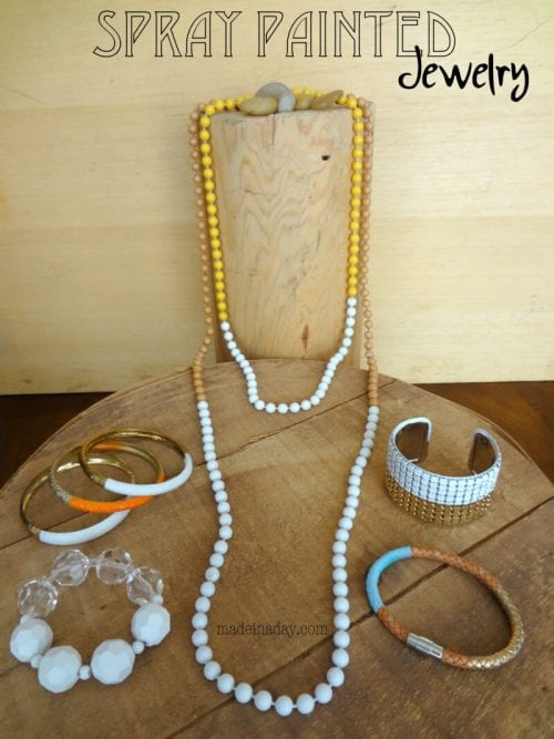 20 Beautiful Handmade Jewelry Tutorials, featured by top US craft blog, The Crafty Blog Stalker: Spray Painted Jewelry