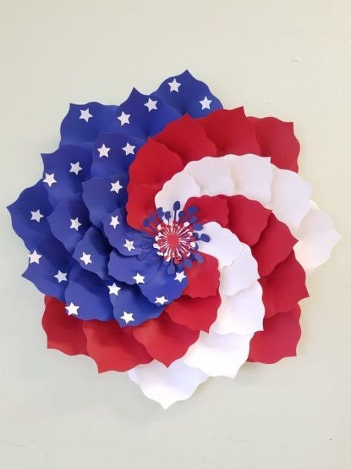 Patriotic American Flag Paper Flower