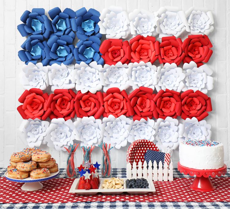 Giant Paper Flower American Flag