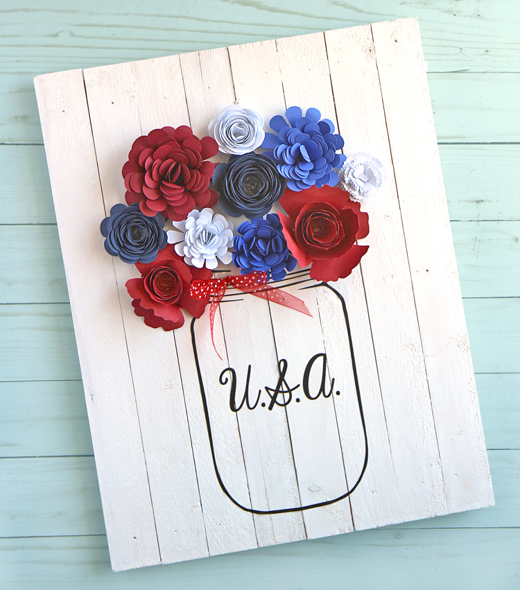 Patriotic Sign with Rolled Flowers