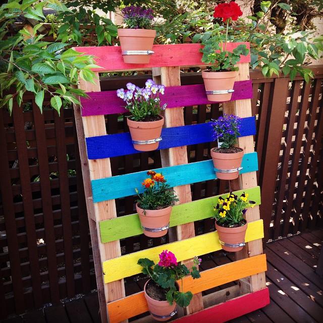image of Upcycled Rainbow Pallet FlowerGarden Planter