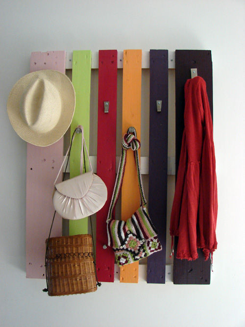 image of Colorful DIY Coat Rack from a Wood Pallet