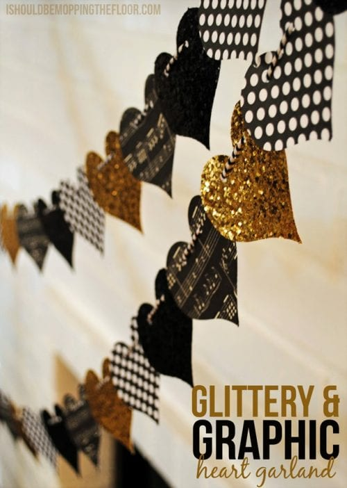 Glittery and Graphic Heart Garland