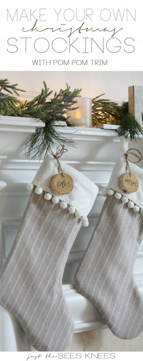 Christmas Stocking with Pom Pom Trim
