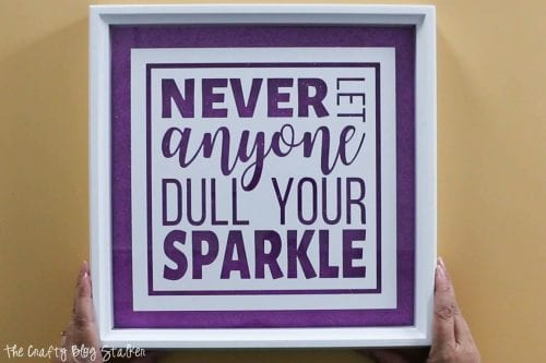 image of finished inspirational glitter quotes frame