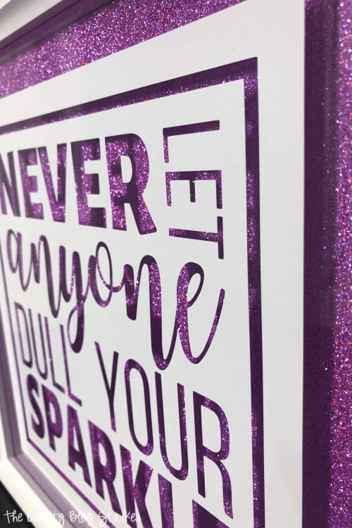 side view of finished inspirational glitter quotes frame