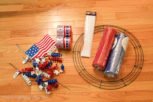 supplies used to make a patriotic mesh wreath
