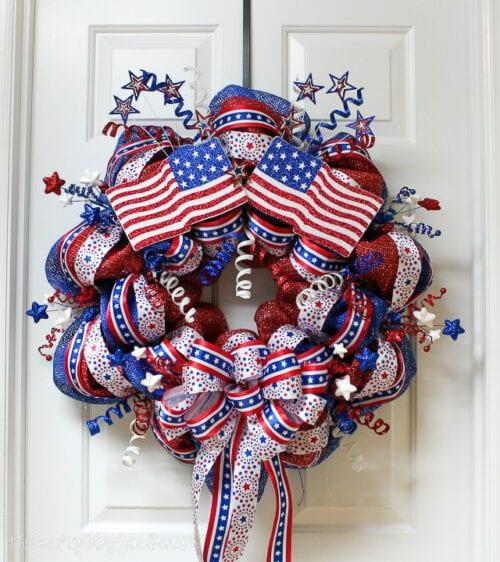 patriotic mesh wreath handing ona. door