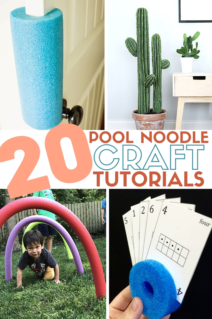 title image for 20 pool noodle craft tutorials