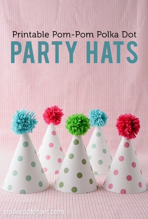 Pom Pom Polka Dot Party Hats